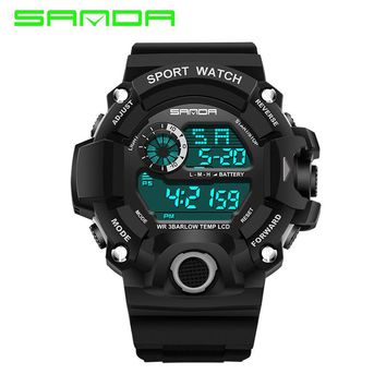 Sanda Mens Sports S-SHOCK Military Watch Fashion Wristwatches G Style Sport LED Digital Watches Waterproof Relogio Masculino