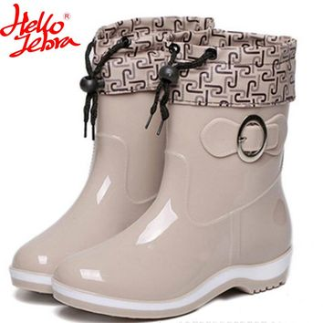 Hellozebra 2017 ladies barrel plus velvet ladies shoes warm non slip water short tube rubber overshoes adult boots Rainshoes