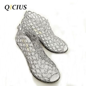 QICIUS Summer Sandals Women Peep Toe Wedge Sandals Sweet Jelly Shoes Woman Shoes For L