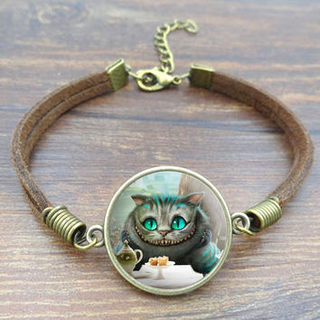 Cheshire Cat Art Image Glass Cabochon bracelets & bangles Vintage Jewlery Brown Rope Charm Bracelet for Women Gift