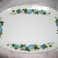 Retro Vintage Discontinued Noritake Blue Orchard Cookin Serve China Platter Great