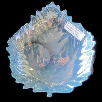 Vintage Yalos Casa Murano Glass Blue Iridescent Leaf Plate or Ashtray