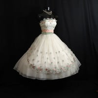 Vintage 1950's 50s STRAPLESS Emma Domb White Pink Pastel Embroidered CHIFFON Organza Party Prom Wedding Dress Gown