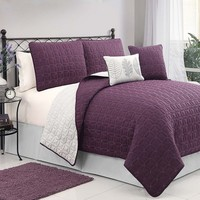 Victoria Classics Hayden 5-pc. Quilt Set - Full/Queen (Purple)