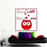 Wall Decals Quote Love Is All Love Is You Decal Vinyl Sticker Home Decor Nursery Bedroom Interior Window Decals Living Room Art Murals