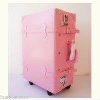 # Vintage Style Pink L37*W23*H70CM PU Leather Suitcase/Luggage Trolley