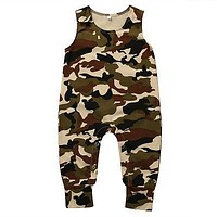 Toddler Infant Baby Boy Girl Camouflage Romper Newborn Baby Clothes Sleeveless Sunsuits Outfits Jumpsuit 0-18M