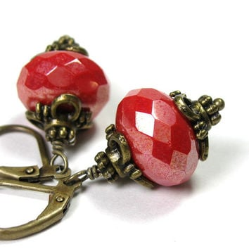 Victorian Style Earrings, Coral Red Antiqued Brass Dangle Earrings, For Her, Gifts for Mom, Fashion Jewelry, Czech Glass, Christmas Gifts