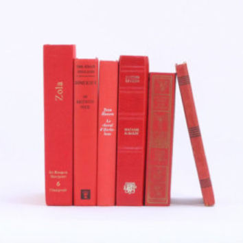 Set of vintage french books, shades of red / French literature / Decorative books / Set of 8 french books