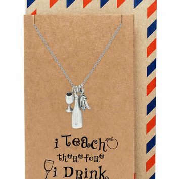 Cali Drinking Utensils Teacher Necklace, comes with Inspirational Quote
