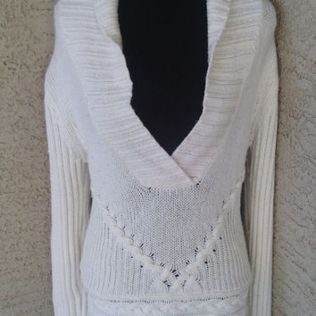 Old Navy vintage white slouchy boho sweater - lambswool rabbit fur angora cotton blend - medium - 90s