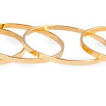5PCS/Set Gold Stack Plain Cute Above Knuckle Ring Band Midi Ring