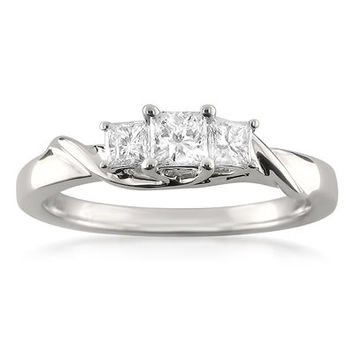 1/2 CT. T.W. Princess-Cut Diamond Three Stone Engagement Ring in 14K White Gold - Save on Select Styles - Zales