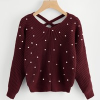 Pearl detail knitted sweater