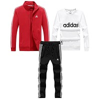Adidas Women Men Fashion Casual Cardigan Jacket Coat Top Sweater Pants Trousers Set Three-Piece