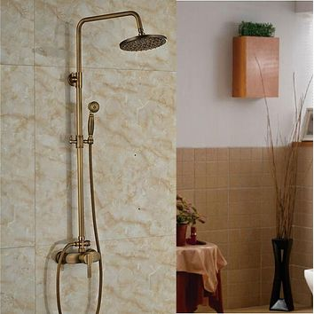 "Brass Antique Rainfall 8"" Shower Faucet Set with Single Handle"
