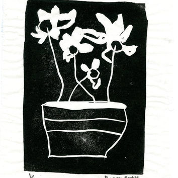 Flowers in Black-Detroit Artist Collectible Original Block Print,signed & dated on Japanese Rice Paper Unique Affordable Art Free Shipping