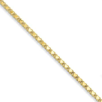 14kt Yellow Gold 10 Inch Double Sided Heart Ankle Bracelet