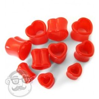 Red Heart Shaped Tunnel Plugs | UrbanBodyJewelry.com