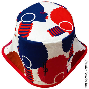 African Queen Red Brim XL Bucket Hat   Afro   Afrocentric Hat   Natural Hair Hat   African Silhouette   Red Blue Hat by Hamlet Pericles