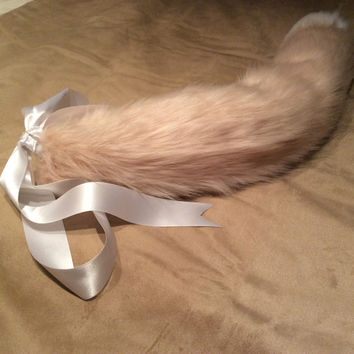 Luxury 25 Inch Dusky Pink With White Tip Kitten Play Faux Fur Tail.