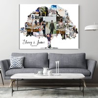 Personalized Family Tree Art Print Wall Art Canvas Family Tree Collage Pictures