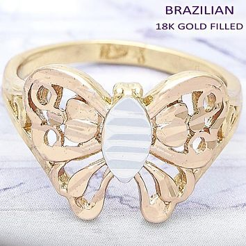 Gold Layered Women Butterfly Elegant Ring, by Folks Jewelry