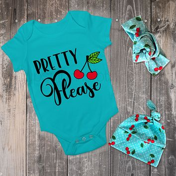 Pretty Please Cherry Outfit Set - Foodie Baby Top w Headband or Hat