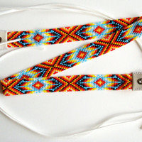 Native American seed bead/leather hatband