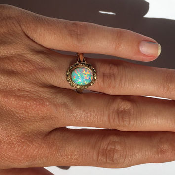 Vintage Opal Ring. Oval White Opal in 9K Yellow Gold. Unique Engagement Ring. Cocktail Ring. Estate.  October Birthstone. 14th Anniversary