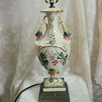 Berger Table Lamp, Bell Flowers, Vines, Hand Painted & Artist Signed, Urn Shaped Porcelain with Trumpet Flower Handles, 1940s, 50s Decor
