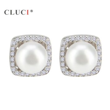 CLUCI Hot Sales 925 sterling silver Square Earrings Trendy Pearl Stud Earrings For Women New Vintage Fashion Jewelry Best Gift
