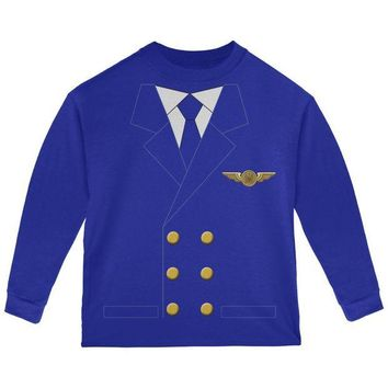 Chenier Halloween Airline Airplane Pilot Toddler Long Sleeve T Shirt