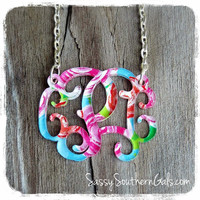 Monogram Acrylic Floating Necklace, Mary Beth Goodwin Patterns, Lilly Pulitzer Inspired
