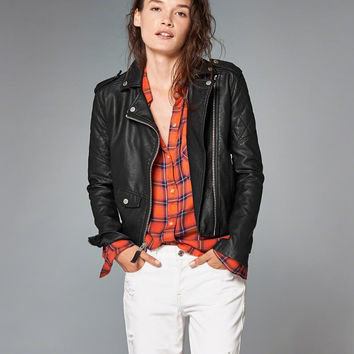 Womens Faux Leather Biker Jacket | Womens New Arrivals | Abercrombie.com
