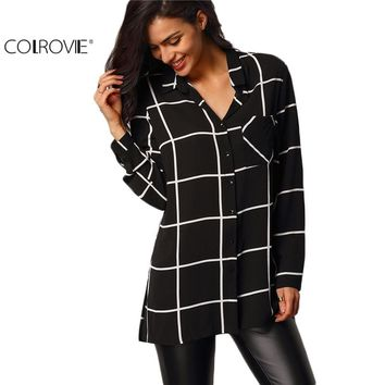 Womens Casual Shirts European Blouses Brands Black Lapel Long Sleeve Plaid Buttons Pockets Blouse