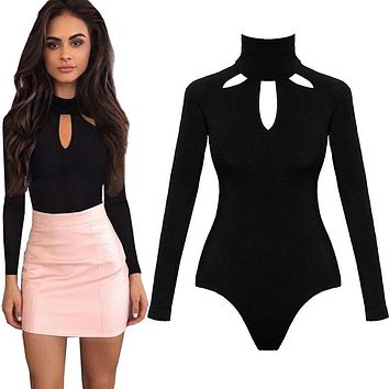 2017 Autumn Bodysuit Women Slim Body Suit Sexy Womens Jumpsuit Long Sleeve Black Leotard Bodysuit For Women