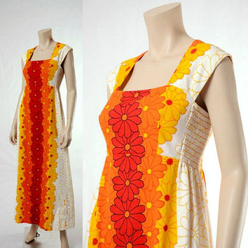 Vintage 60s Mod Daisy Hawaiian Maxi Dress 1960s Mad Men Flower Graphic Empire Waist Hawaii Boho Dress Hippie Luau Party Barkcloth Gown