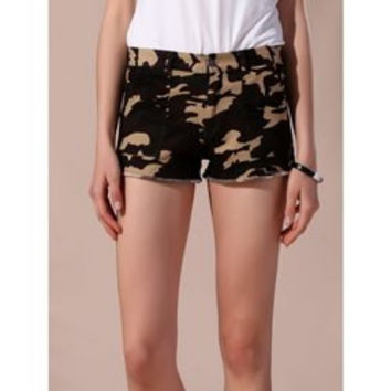 Stylish Camo Frayed Shorts For Women
