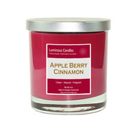 Soy Candle - Apple Berry Cinnamon Scented - 8 oz Rock Glass Jar Candle with Brushed Metal Lid