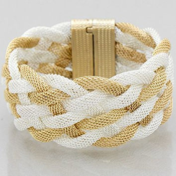 Womens Jewelry, Metal Mesh Woven Magnetic Bracelets Color : Silver-gold Size : Length:7inch