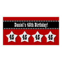 45th Birthday Red Black White Stars Banner V45S Print