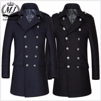 M-3XL Korean Winter new men's wool woolen coat Jacket Double Breasted Fashion Military Long trench plus size clothing