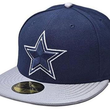 PEAPYD9 New Era 59FIFTY NFL Dallas Cowboys Jersey Basic Cap Navy/Silver Size 7 3/8