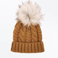 Yellow Faux Fur Pom Pom Bobble Hat | New Look