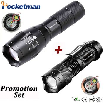 Promotion!LED tactical flashlight Q5 2000LM + 3800LM LED flashlight T6 Zoomable linternas LED Torch Ultra Bright Light