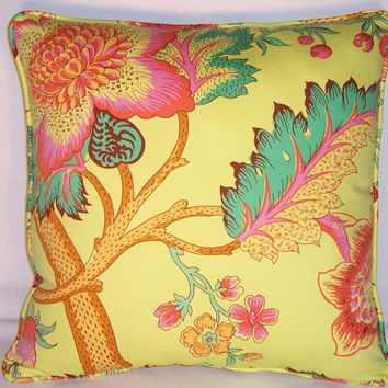 "Bright Yellow Floral Pillow  Amy Butler Decor Disc. 100% Cotton 17"" Square Sateen Mod Flowers Decor Fabric Cover and Insert Ready to Ship"