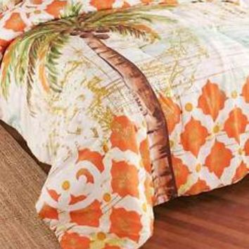 Tropical Palm Tree Themed King Comforter Moroccan Pattern Bed Bedroom Decor