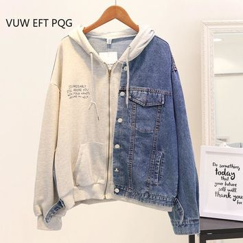 Trendy New Autumn Hooded Denim Jacket Women Loose Stitching jacket coats Student Casual Letter-printed Hoodies Female Jeans Outwear AT_94_13