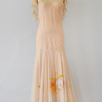 vintage 1930s pale pink tulle gown with flowers [Comtesse de Mailly Dress] - $328.00 : Vintage & Vintage Inspired Clothing, Adored Vintage, Portland Oregon